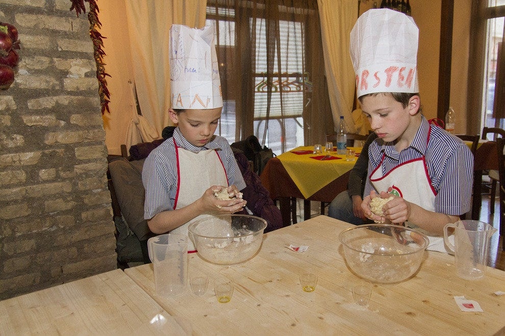 The kids will love getting their hands dirty at Pizza School for Kids