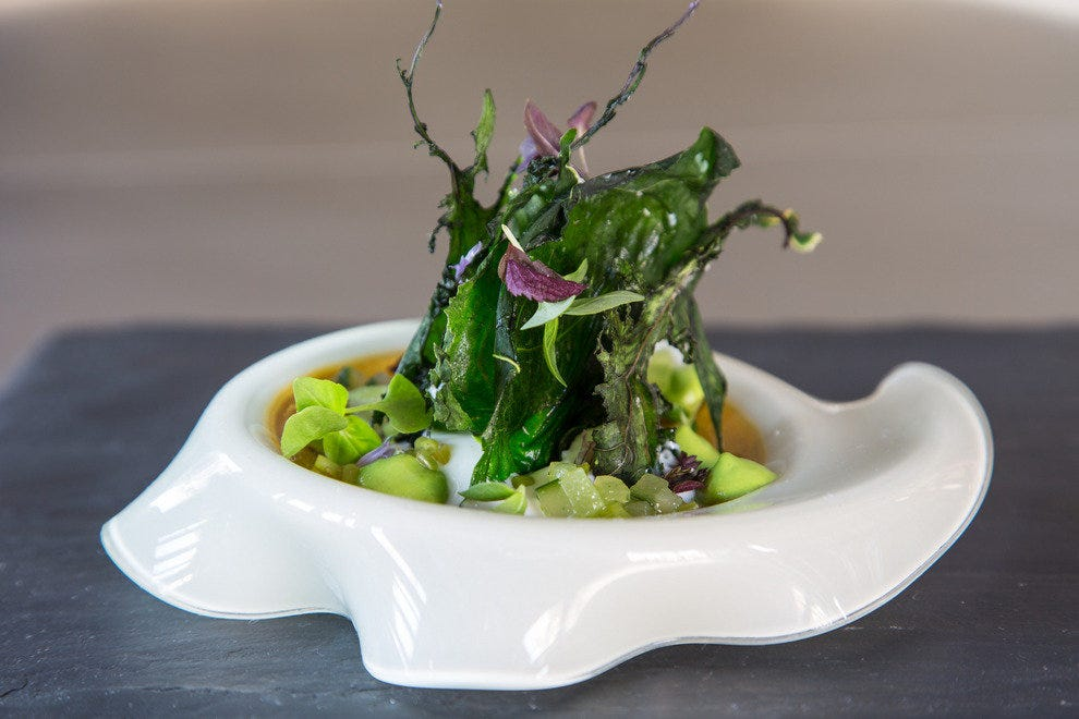 Petrified wild greens include young pea puree and pickled cilantro stems