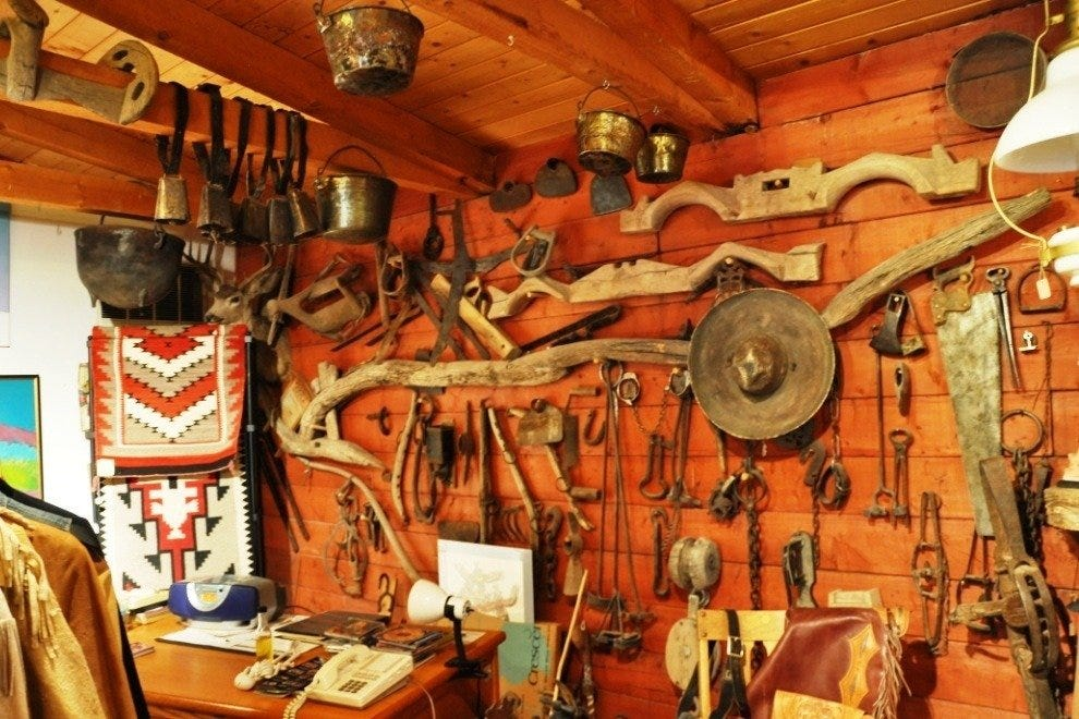 Western tools and artifacts inside Nambe Trading Post