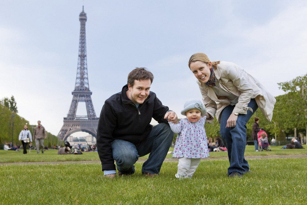 A young family vacations in Paris
