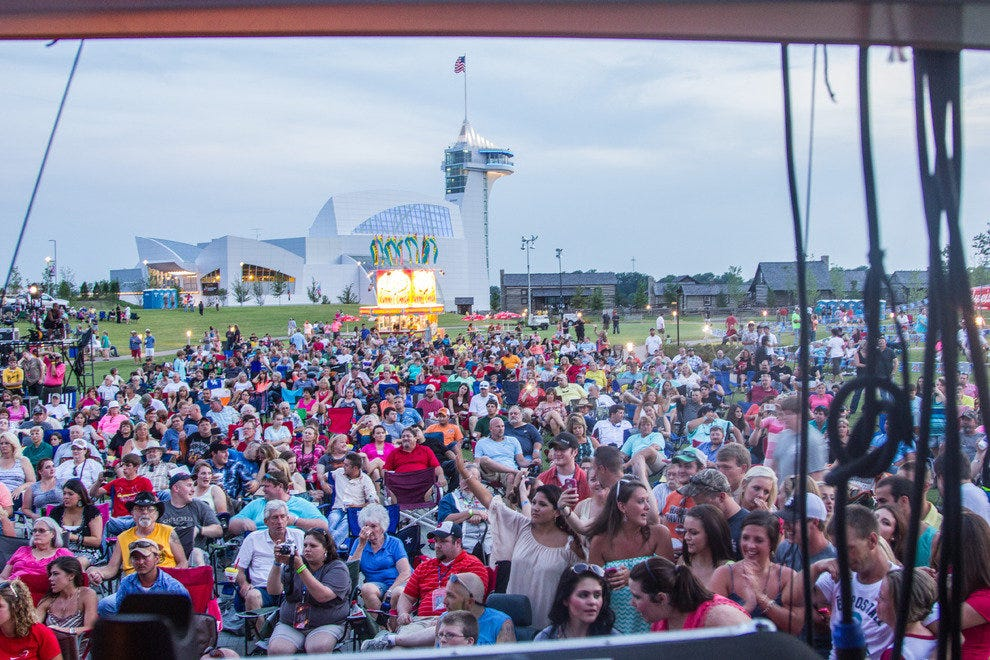Concert-goers take in a performance by Travis Tritt on Discovery Park's Great Lawn