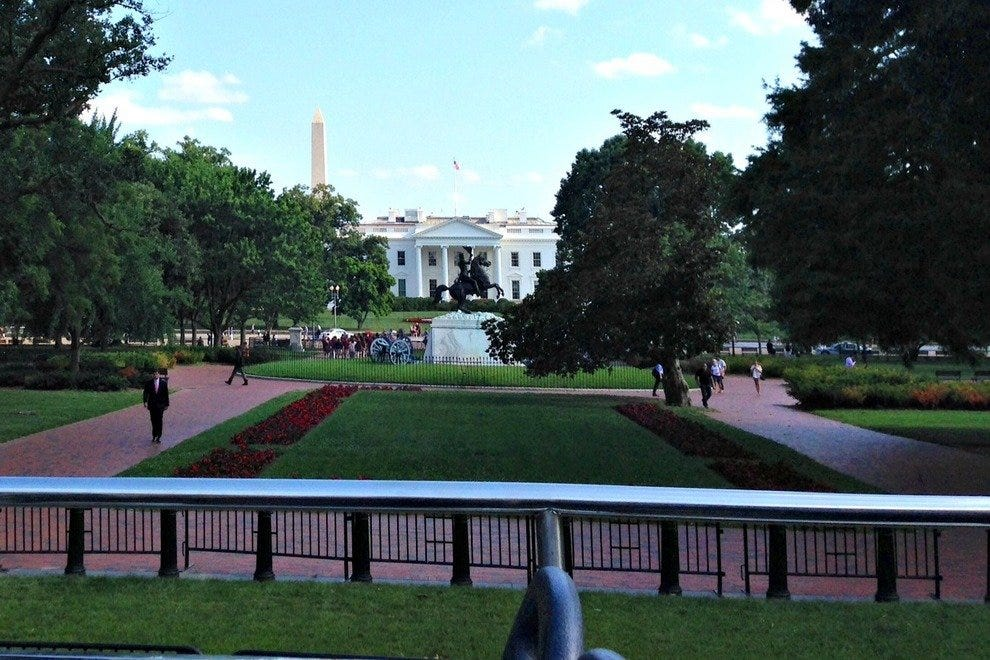 The White House, as seen from the CitySights DC double-decker bus.