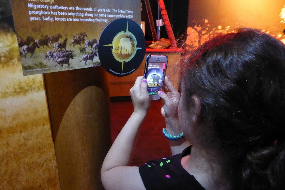 Augmented reality (AR) helps bring various animals inside the exhibit to life