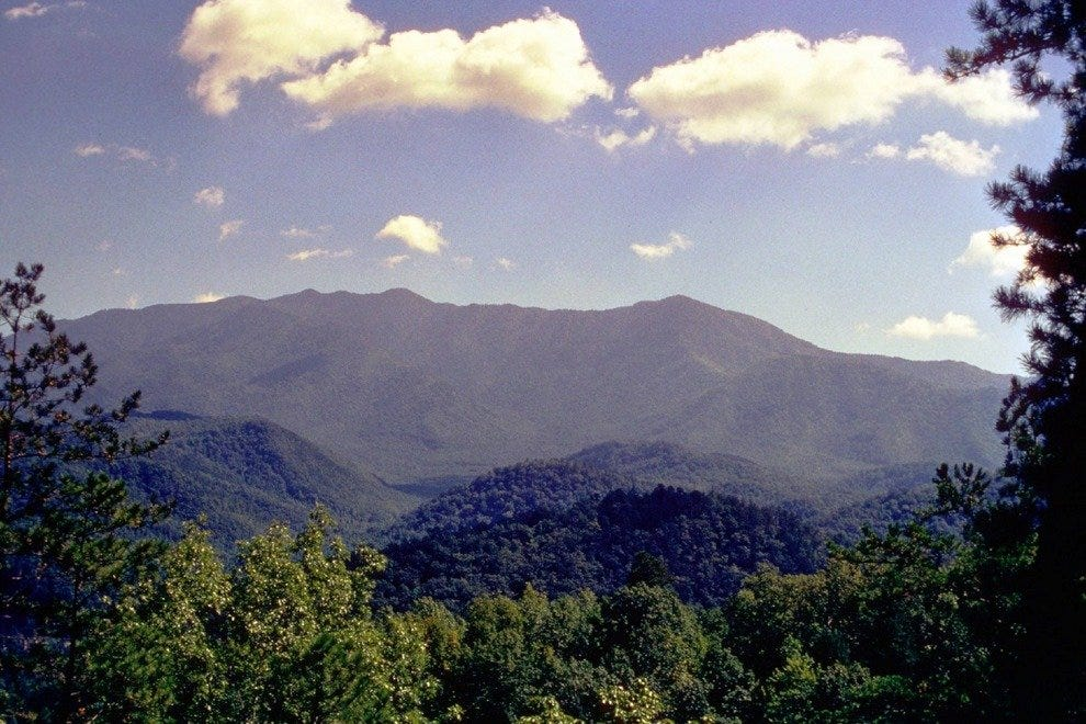 At 6,593 feet, Mount Le Conte is the third highest peak at Smoky Mountain National Park.