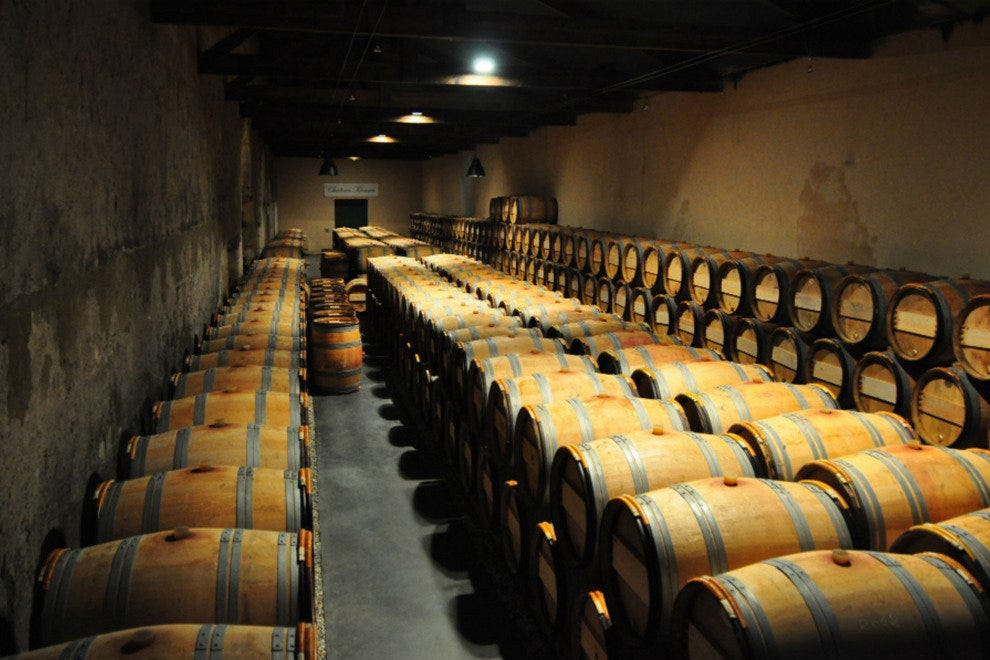 Wine barrels collect in a cellar