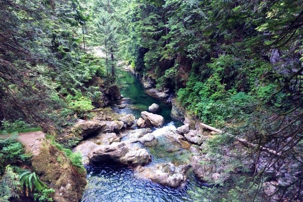 Cool waters trickle down at Lynn Canyon Park's water spots