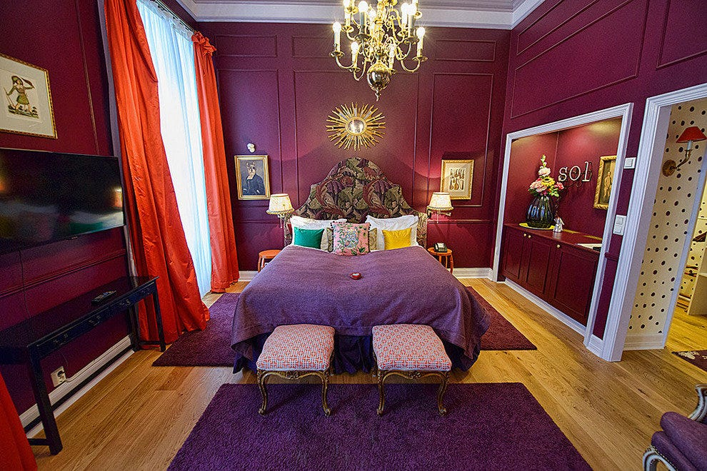 The purple Mikado Suite at the Grand Hotel