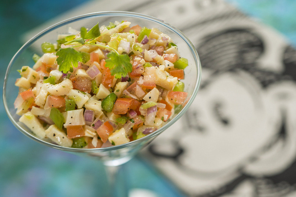 From Puerto Rico,there's sure to be Caribbean conch salad with onion,tomato and cilantro
