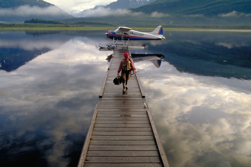 Landing at a fishing lodge in Alaska may seem surreal as you get off the float plane.