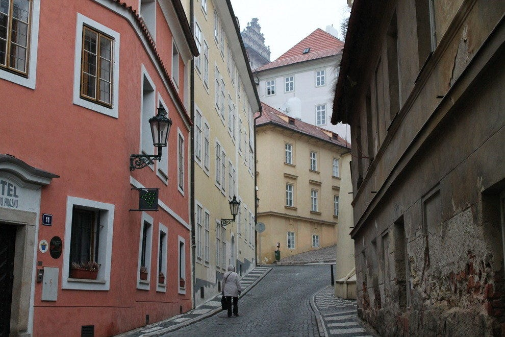 Vacation rentals can be found anywhere, including down a winding street in Prague