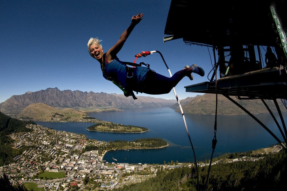 A flying leap tethered to a bungy cord is the height of adventure.