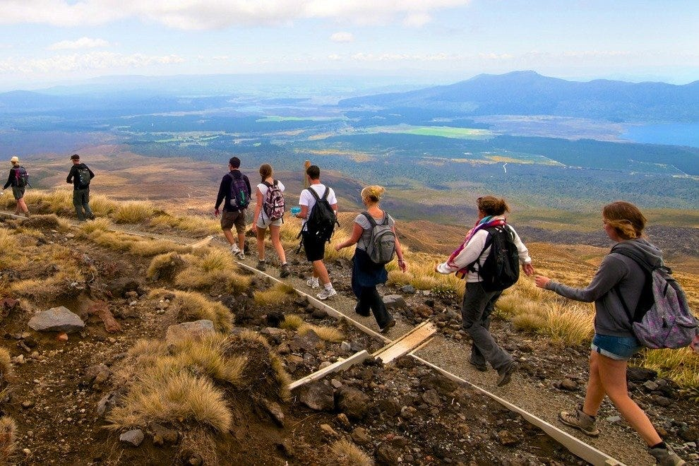 The Tongariro Alpine Crossing takes in spectacular views, but can be hiked in a single day.