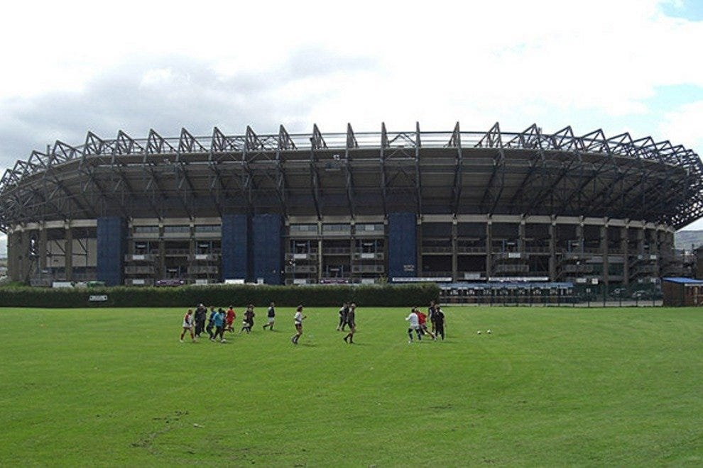 Training session outside Murrayfield Stadium