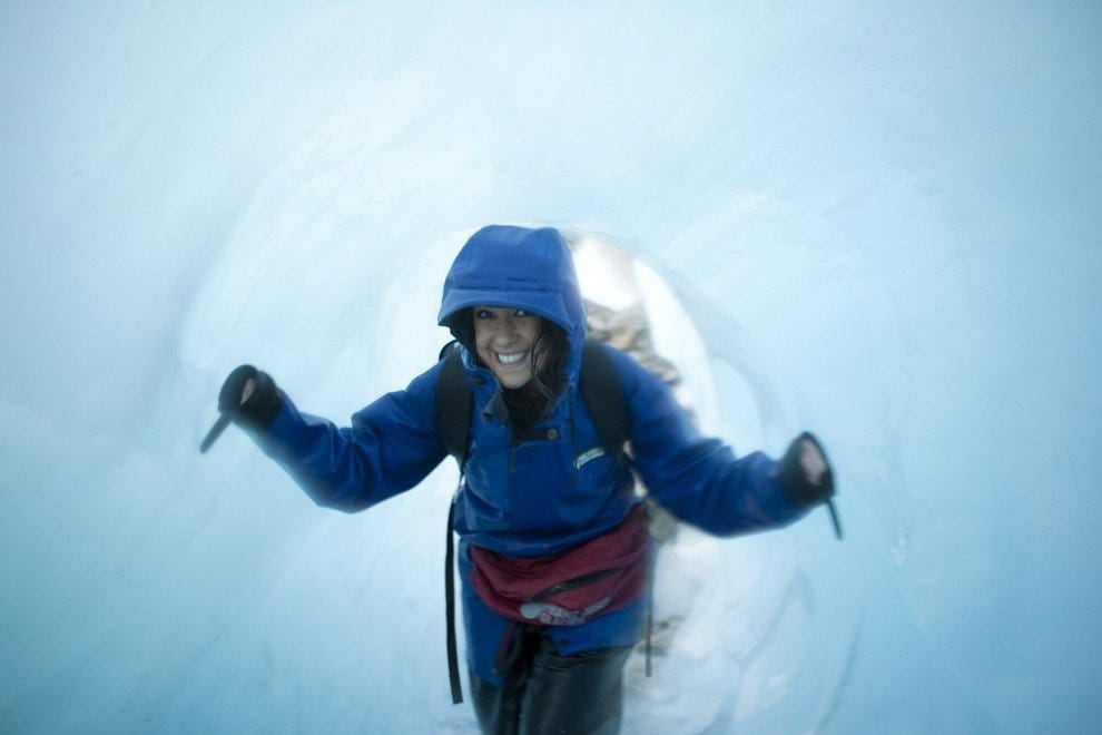 Don't venture into an ice tunnel on Franz Josef Glacier without a guide.