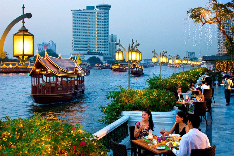 Enjoying the Chao Phraya River at the Mandarin Oriental