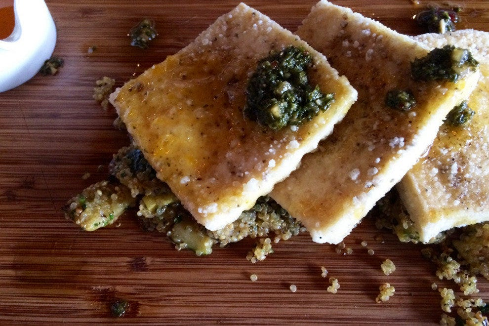 The creatively presented crispy fried organic tofu could make a tofu-lover out of almost anyone