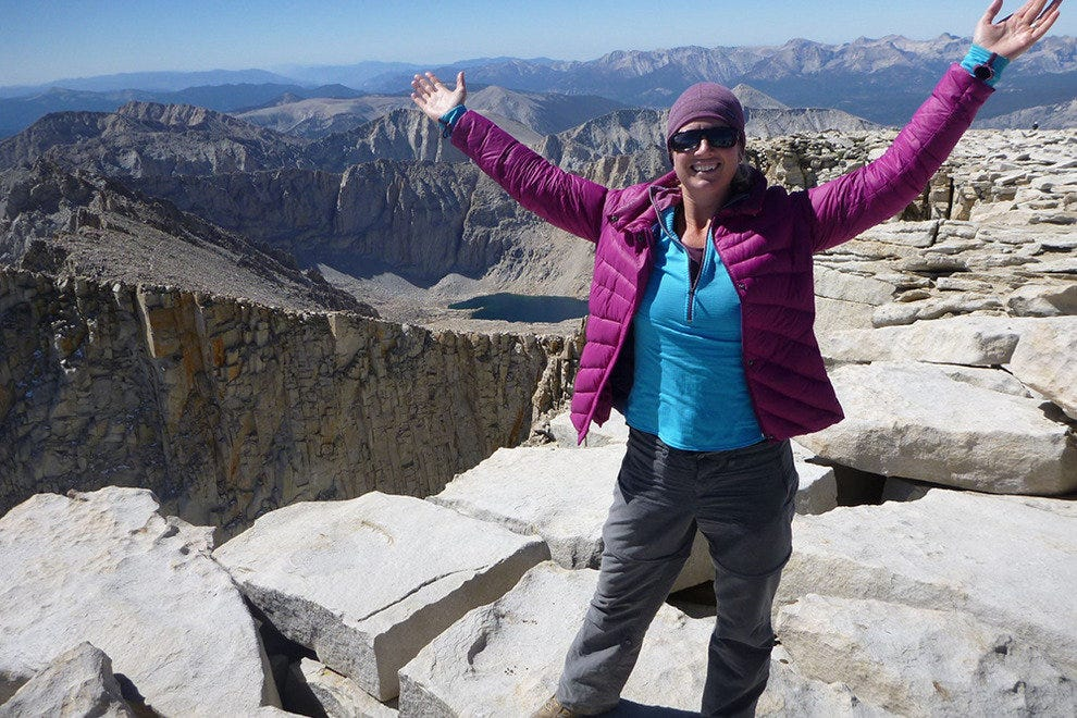The author triumphant at the summit of Mount Whitney.