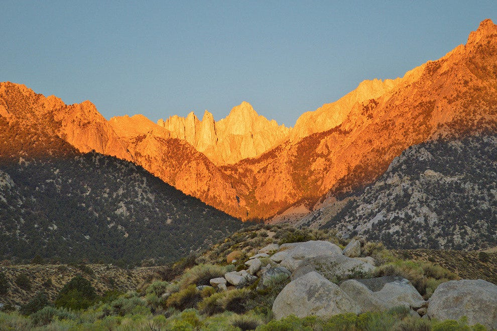 Dawn on Mount Whitney from the Alabama Hills of Lone Pine, California.