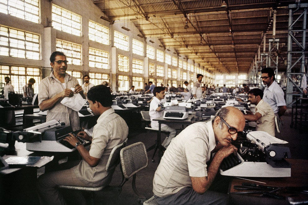 "The collection of Sanjay Parthasarathy and Malini Balakrishnan includes works like ""Untitled"" (digital print) of Godrej Typewriter Factory, 1984"