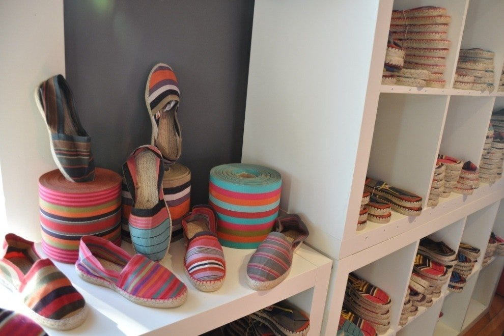 Plenty of striped espadrilles are on offer at Bon Marche