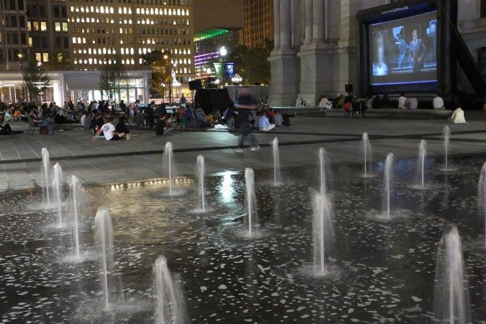 At Dilworth Park, fountains spring up in warmer weather, while the area features an ice rink here in winter