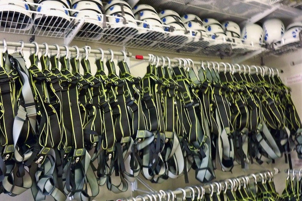 Harnesses and helmets await new rope challengers at Wild Blue Ropes