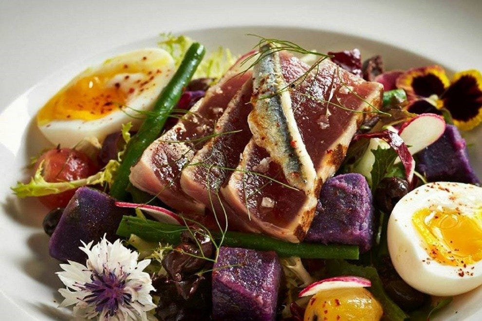 Pinea's tuna nicoise salad is adorned with haricots verts and olives