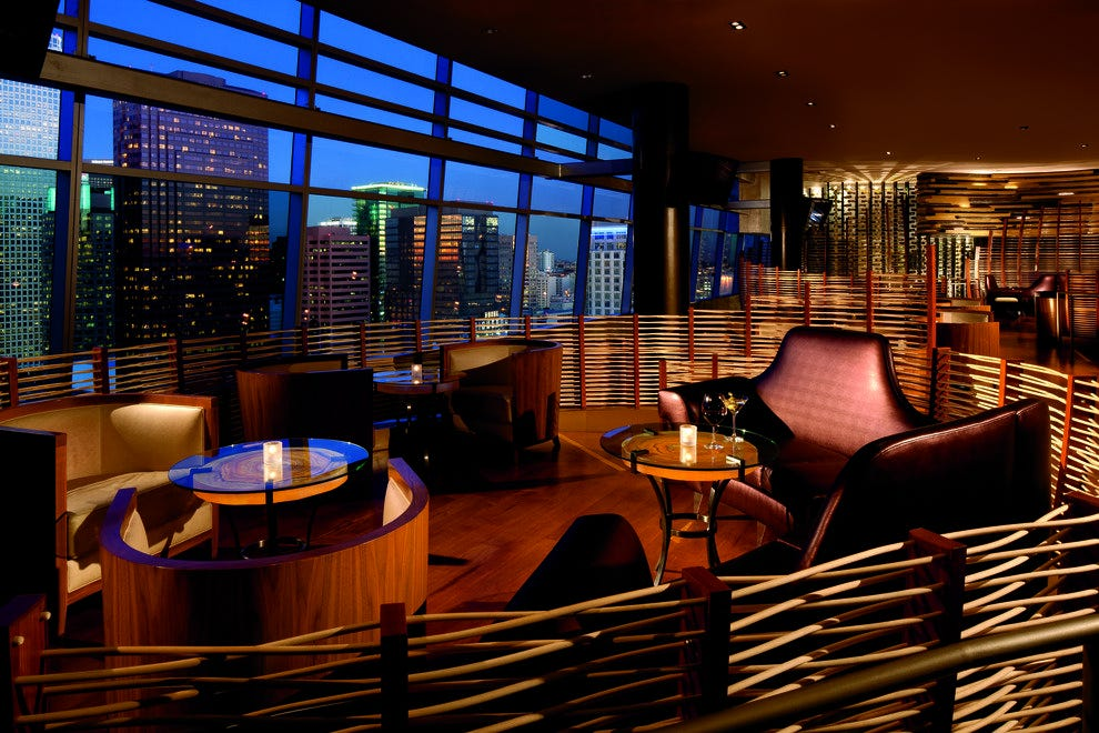 Stunning nighttime views from the Nest on the 24th floor of The Ritz-Carlton