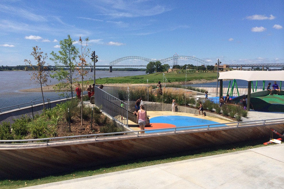 Beale Street Landing sits between Tom Lee Park and the historic cobblestone landing, where steamboats once docked, right on the Mississippi River in downtown Memphis