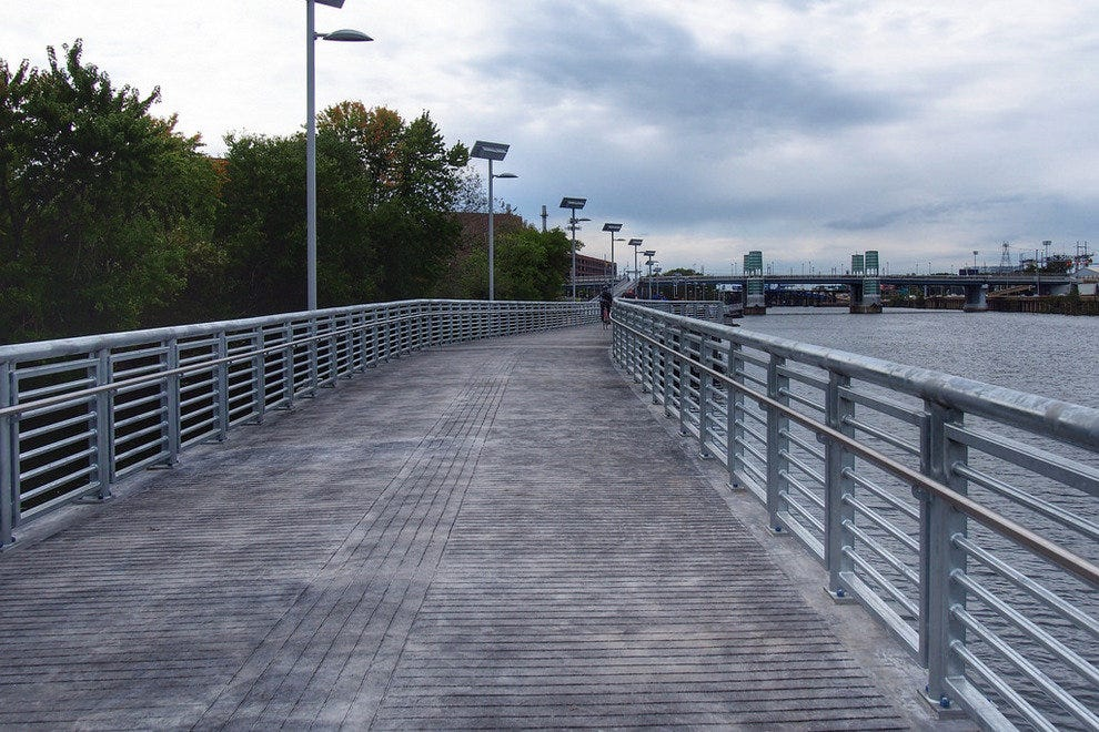 Smooth and flat, the walkway is a lovely and scenic way to get to your downtown destination