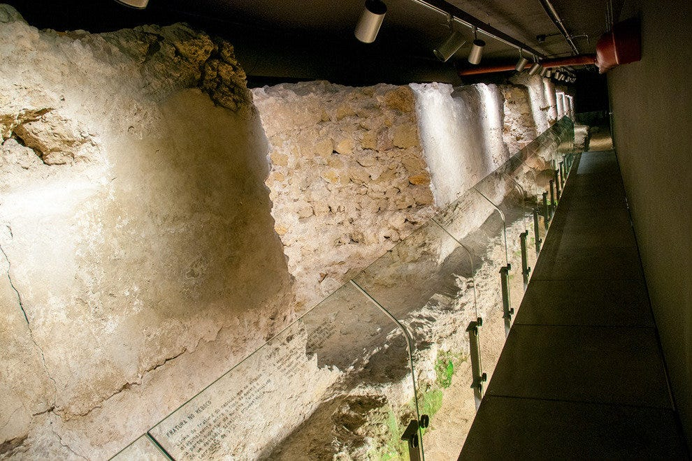 The 13th-century D. Dinis Wall, situated in an Interpretation Centre set below Lisbon's Baixa district