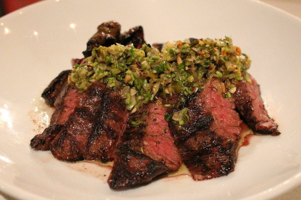 The tangy chimichurri skirt steak entree
