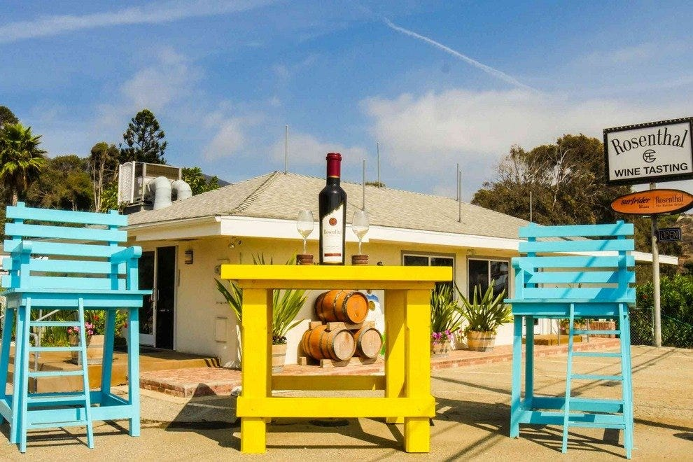 "Enjoy a sunny day and a glass of ""vino"" at Rosenthal Winery's Malibu tasting room"