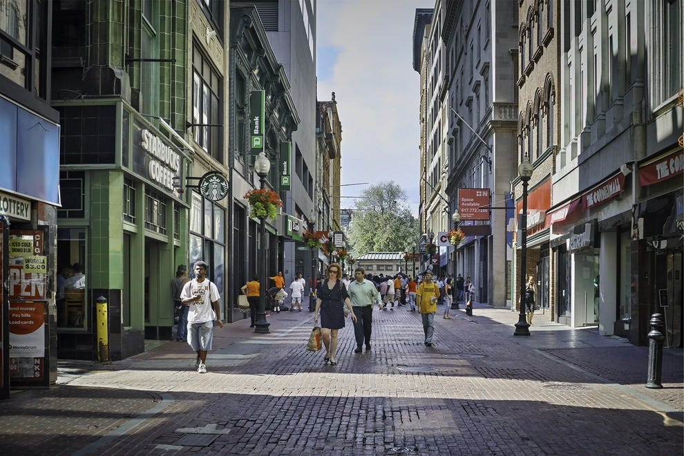 Boston has an impressive array of different shopping options -- from big malls right downtown to tiny hidden boutiques in quaint neighborhoods. Grab an ice cream and wander down picturesque Newbury Street to window-shop at upscale designer stores.