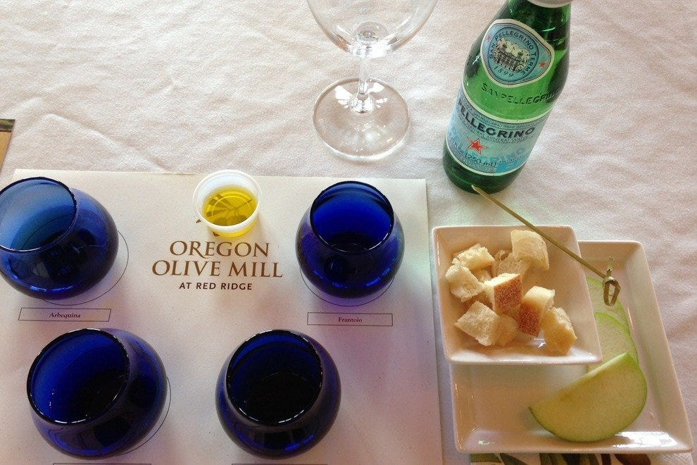 At scenic Red Ridge Farms in Dayton, Oregon, visitors indulge with tastings of wine and award-winning olive oil.