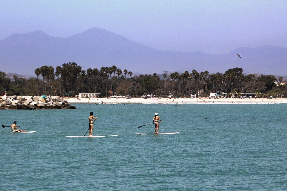 Paddleboarding is a favorite activity in Dana Point's calm harbor.