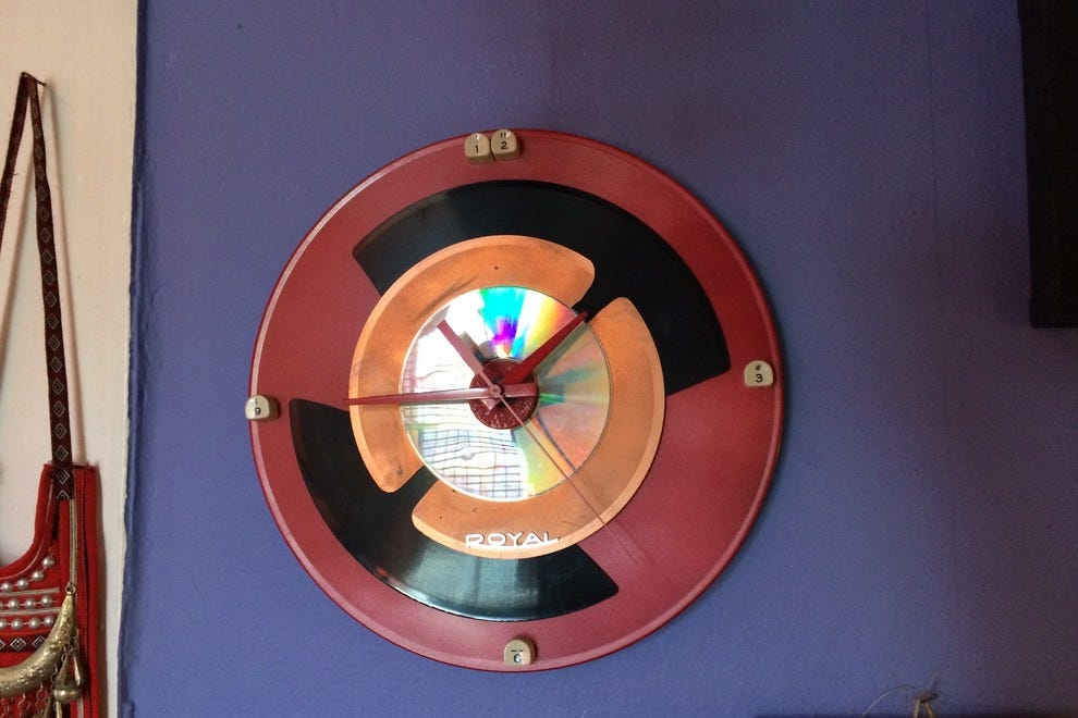 This album-turned-clock by artist Judy Gamache Digeorge is just one of the locally made gifts at Bon Castor