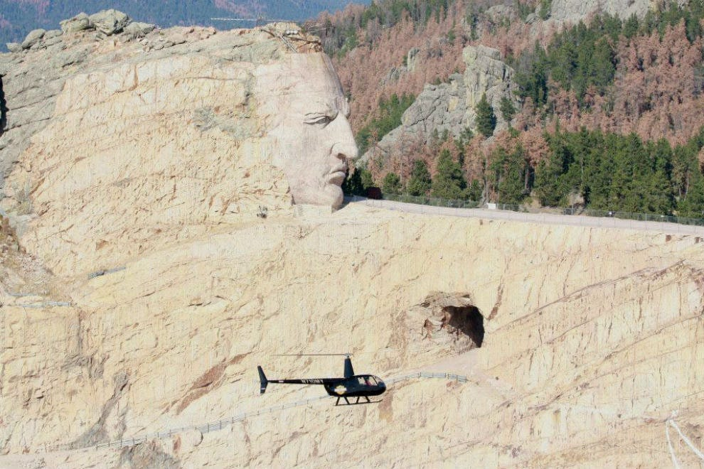 A close up of the Crazy Horse Monument