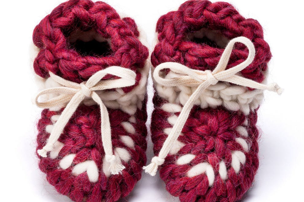 These baby booties ($40) by Meredith Combs with Muffle-Up Slippers are ...