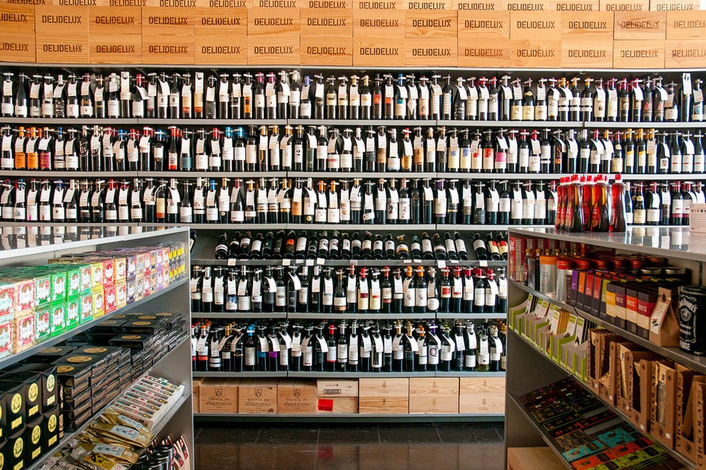 The vast selection of wines and other gourmet goodies at Deli Delux
