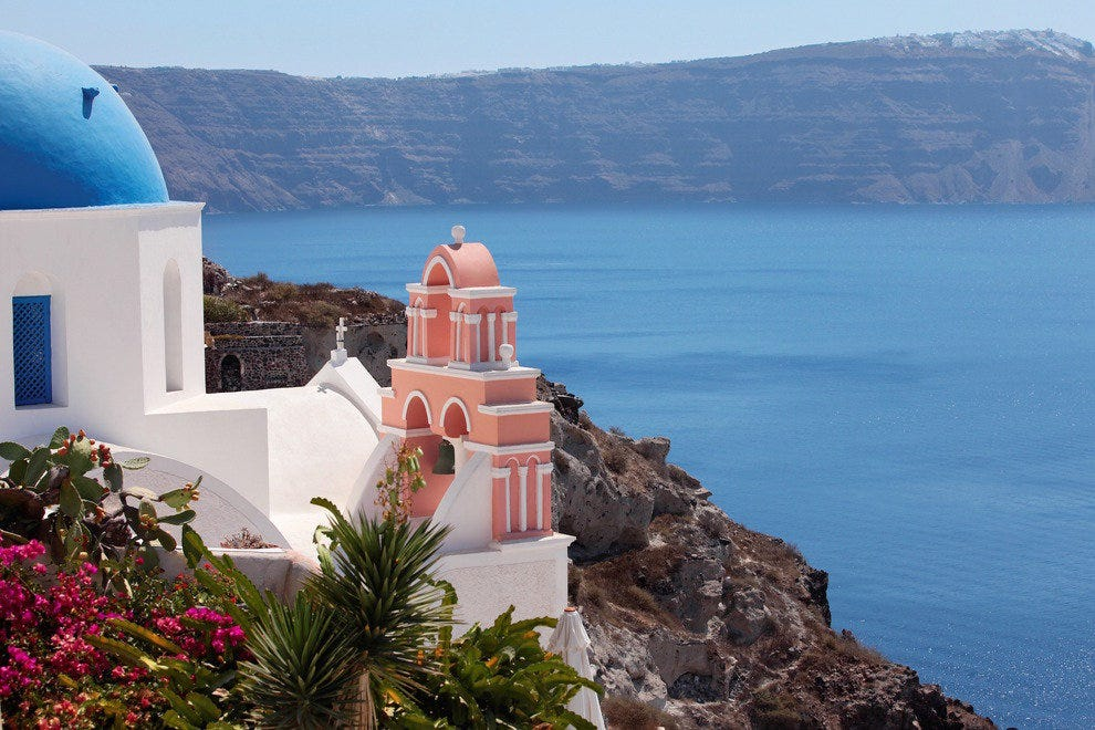 The iconic Greek island of Santorini is a long ferry jaunt from Greece. Breeze by on a cruise.