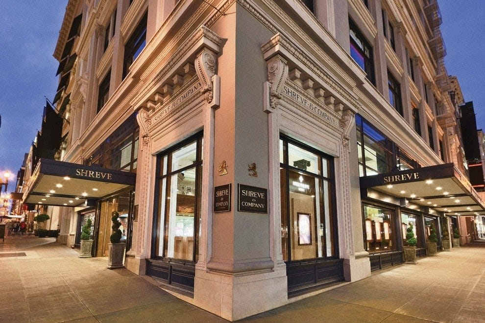 The flagship store of Shreve and Co. at Post and Grant in San Francisco.