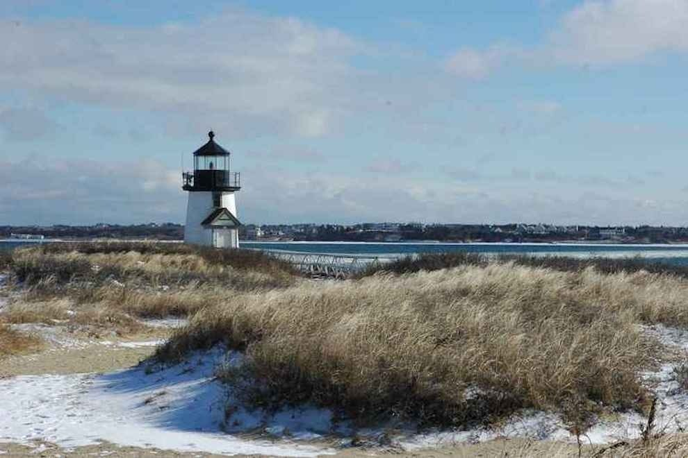 The lighthouse on Nantucket, during the winter