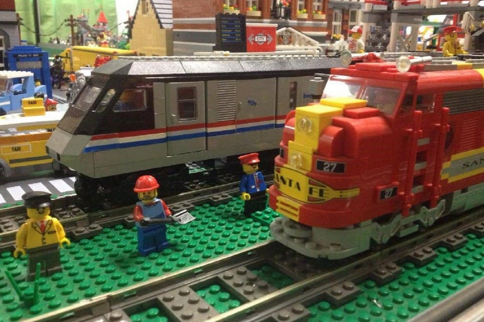 These two Lego trains are just a small part of the Legos on display at the Roads and Rails Museum