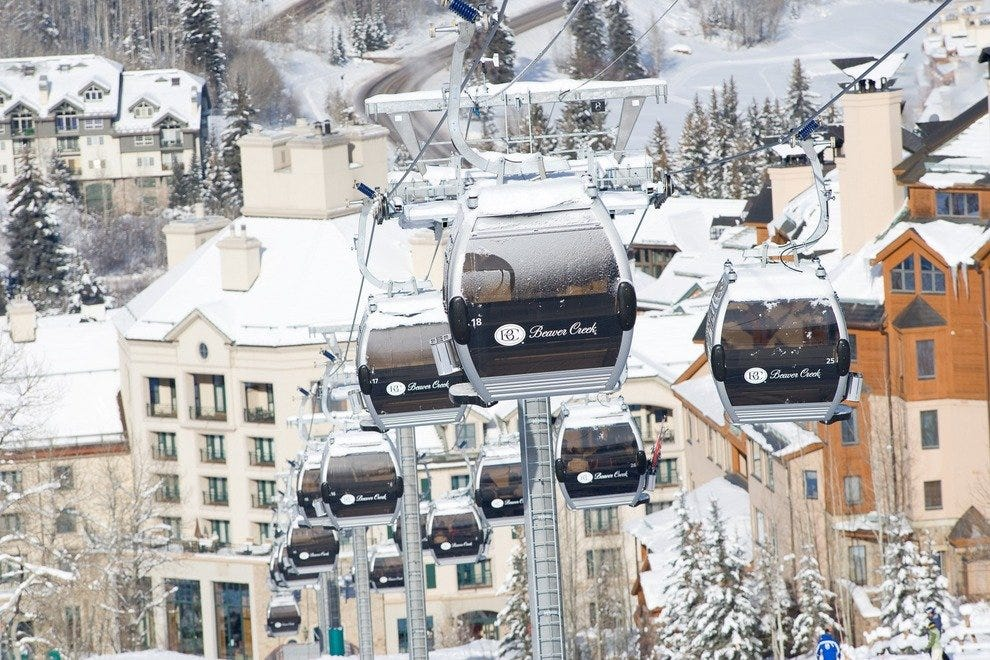 Gondolas offer a safe and comfortable way to enjoy the panoramic views of the ski town.