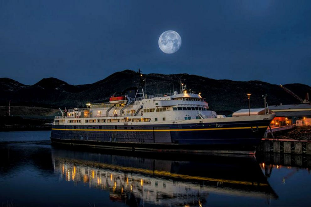 A night spent aboard the Alaska Marine Highway offers moonlit skies