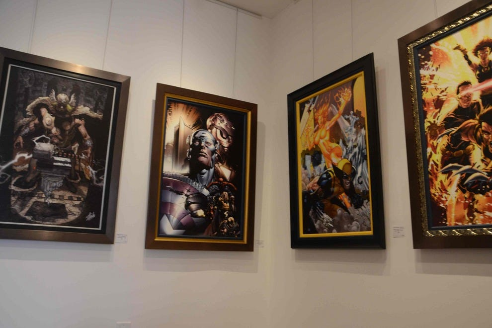 Some of Stan Lee's works on display at Qart.com Gallery