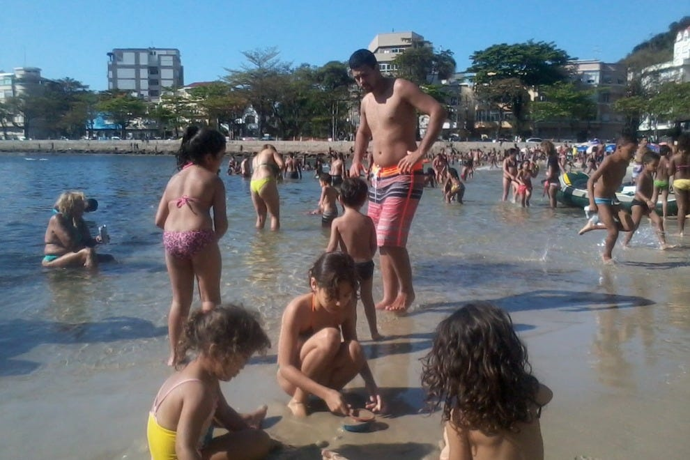 Urca Beach is the best beach in the city of Rio for swimming with young children