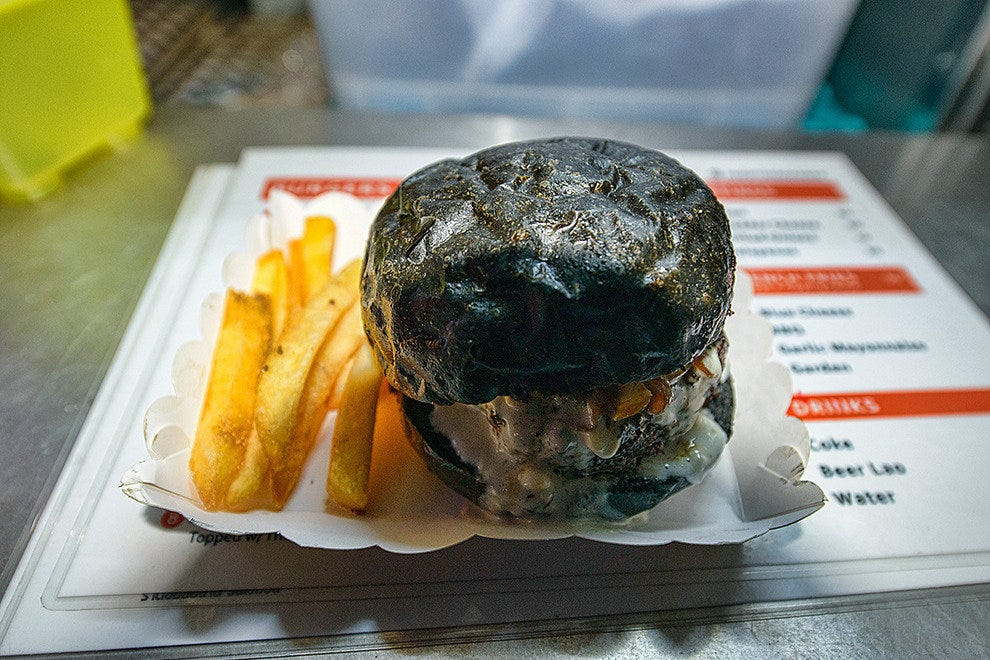 The black and blue burger is a best-seller