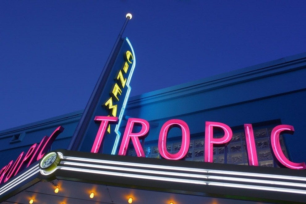 This dazzling marquee sign at Tropic Cinema evokes a sense of nostalgia